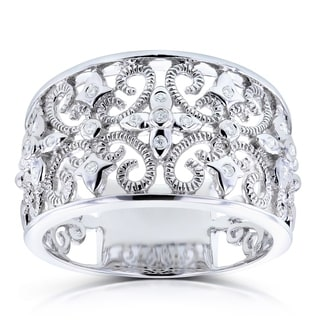 Annello by Kobelli 14k White Gold Diamond Accent Fancy Anniversary Wide Ring (H-I, I1-I2)