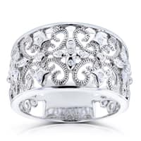 Annello by Kobelli 14k White Gold Diamond Accent Fancy Wide Lightweight Anniversary Ring