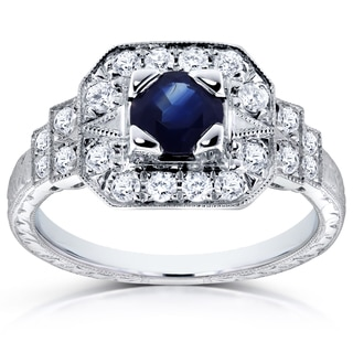 Annello by Kobelli 14k White Gold 5mm Blue Sapphire and 1/3ct TDW Diamond Milgrain Fancy Antique Engagement Ring