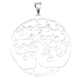 Rhodium-plated Sterling Silver Italian Polished Circle Tree of Life 18-inch Necklace