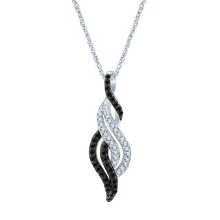 Unending Love Sterling Silver 1/5ct TDW Black and White Diamond Fashion Pendant (I-J,I2-I3)