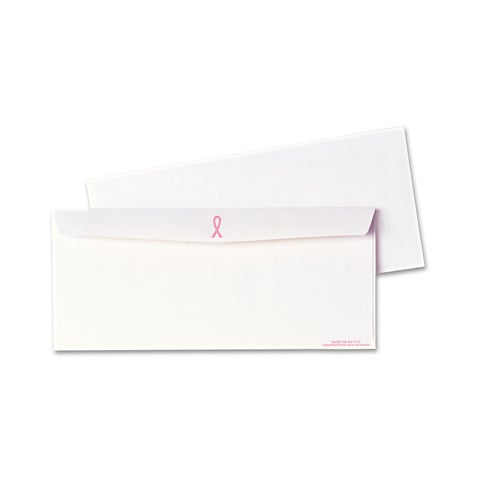 Quality Park Breast Cancer Awareness White/Pink Ribbon Envelope (Box of 500)