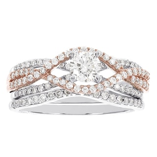 H Star 14k White Gold, 14k Rose Gold 1ct Diamond Wedding Ring Set (H-I, I1-I2)