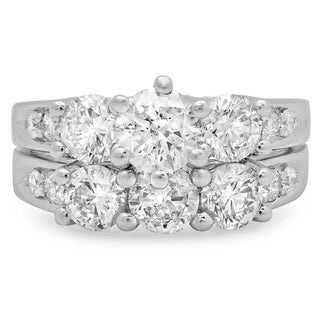 Elora 14k White Gold 3 1/10ct TDW Round Diamond 3-stone Bridal Ring Set (J-K, I1-I2)