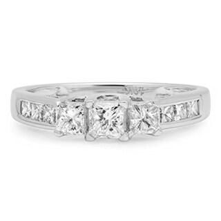 10k White Gold 1ct TDW Princess-cut Diamond 3-stone Engagement Ring (J-K, I1-I2)