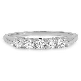 Elora 14k White Gold 1/2ct TDW Round Diamond 5-stone Wedding Band (J-K, I1-I2)