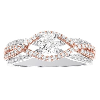 H Star 14k White Gold, 14k Rose Gold 7/8ct Diamond Engagement Ring