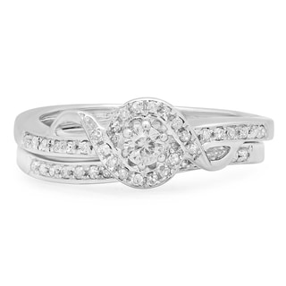 Elora Sterling Silver 1/4ct TDW Round Diamond Bridal Ring Set (J-K, I2-I3)