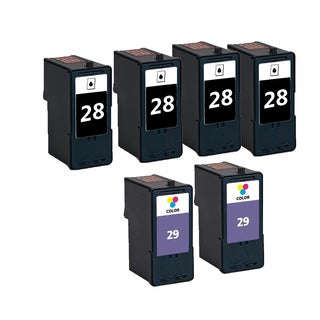 6 Pack 4 x 18C1428 (#28) + 2 x 18C1429 (#29) Black Color Compatible Ink Cartridge For Lexmark X2500/X5075 (Pack of 6)
