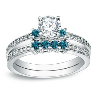 Auriya 14k Gold 1ct TDW Round Blue Diamond Bridal Ring Set