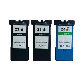 3 Pack 2 x 18C1523 (#23) + 18C1524 (#24) Black Color Compatible Ink Cartridge For Lexmark X3530/Z1410 (Pack of 3 )