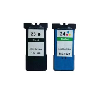 2 Pack 18C1523 (#23) + 18C1524 (#24) Black Color Compatible Ink Cartridge For Lexmark X3530/Z1410 (Pack of 2 )