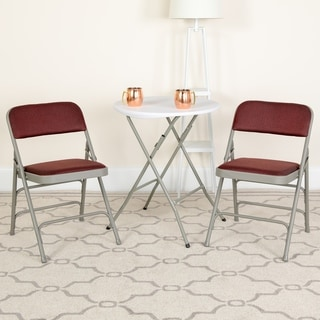Hercules Series Curved Triple Braced and Quad Hinged Patterned Fabric Upholstered Metal Folding Chai