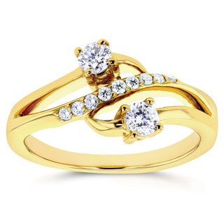 Annello by Kobelli Two 14k Yellow Gold 1/3ct TDW Diamond Two-Stone Curved Ring
