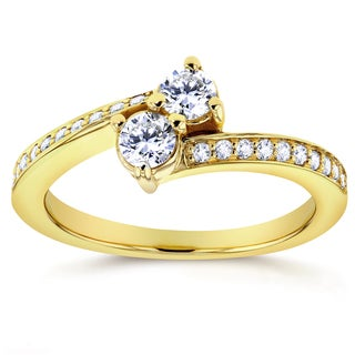 Annello by Kobelli Two Collection 14k Yellow Gold 2/5ct TDW Diamond 2 Stone Ring