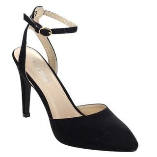 ANNIE PINKY KARA-04 Women's Sassy Ankle Strap Dress Stiletto Pumps