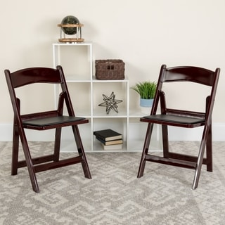 Hercules Series 1000-pound Capacity Red Mahogany Resin Folding Chair with Black Vinyl Padded Seat