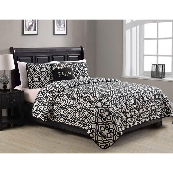 Faith Black and White 4-Piece Quilt Set