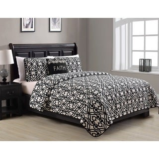Faith Black and White 4-Piece Quilt Set