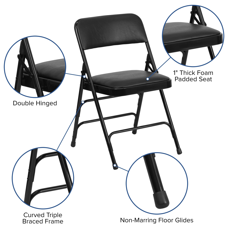 Pleasing Hercules Series Curved Triple Braced And Quad Hinged Vinyl Upholstemetal Folding Chair Evergreenethics Interior Chair Design Evergreenethicsorg