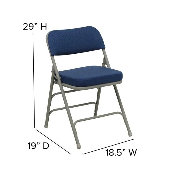 Metal Folding Chair Burgundy Fabric Triple Braced /& Quad Hinged