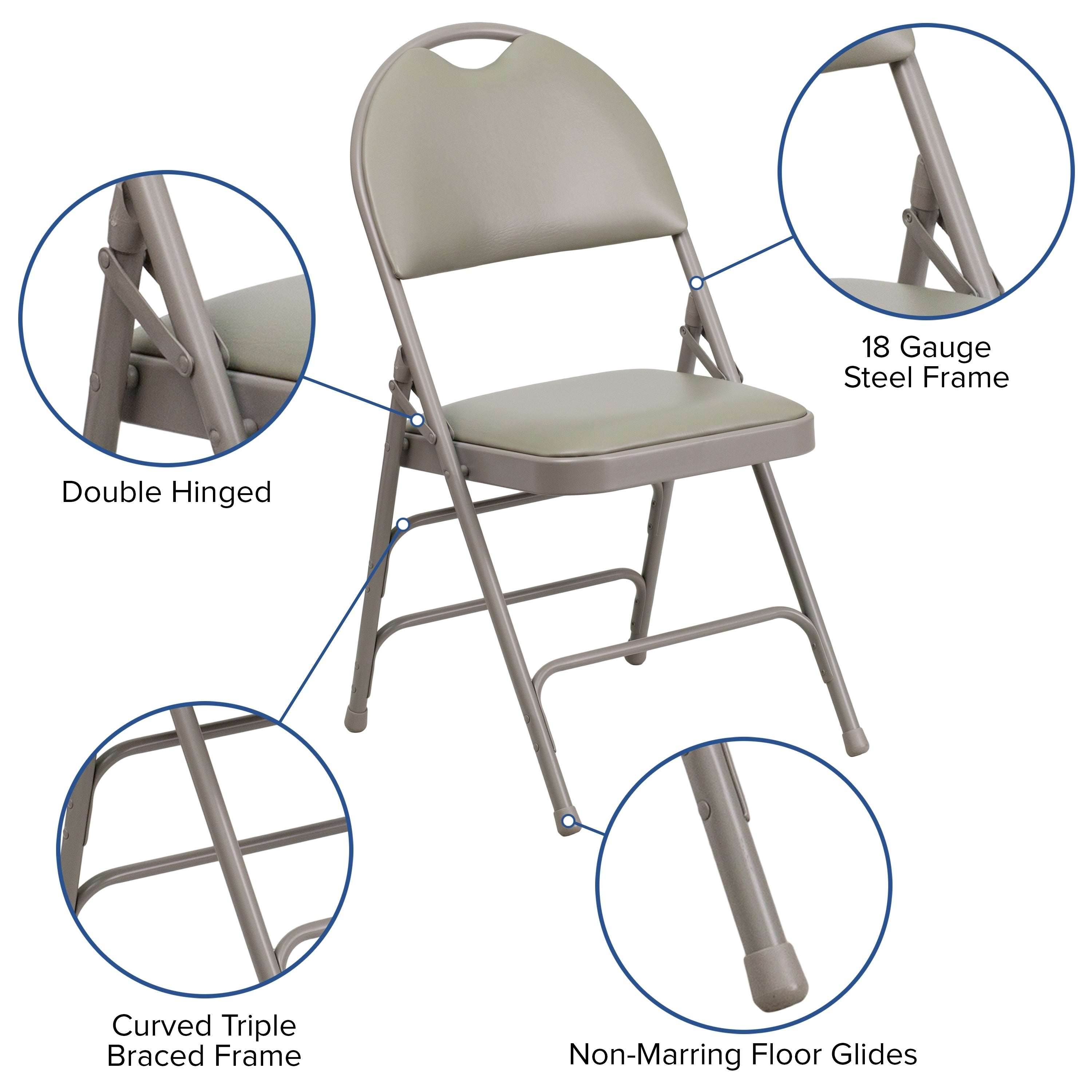 Hercules Series Extra Large Ultra Premium Triple Braced Vinyl Metal Folding Chair With Easy Carry Handle