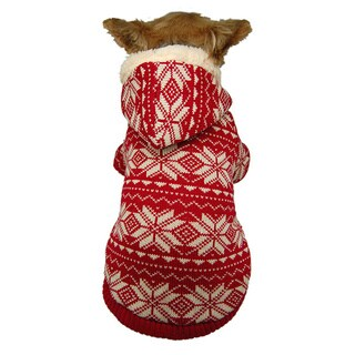 ANIMA Fleece Knit Snowflake Pet Jacket - Multi