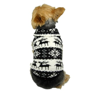 ANIMA Fleece Reindeer and Snowflake Pet Sweater (Option: Red)