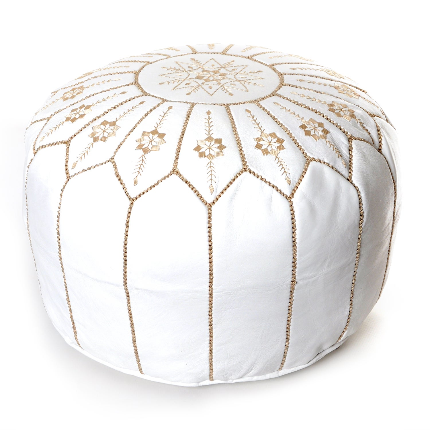 Shop Moroccan Flower Leather Pouf Round White Embroidered