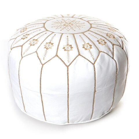 The Curated Nomad Aptos Moroccan Flower Leather Pouf Round White Embroidered Ottoman (Morocco)