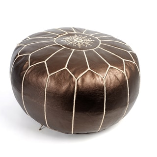 Handcrafted Moroccan Faux Leather Pouf Authentic Ottoman (Morocco)