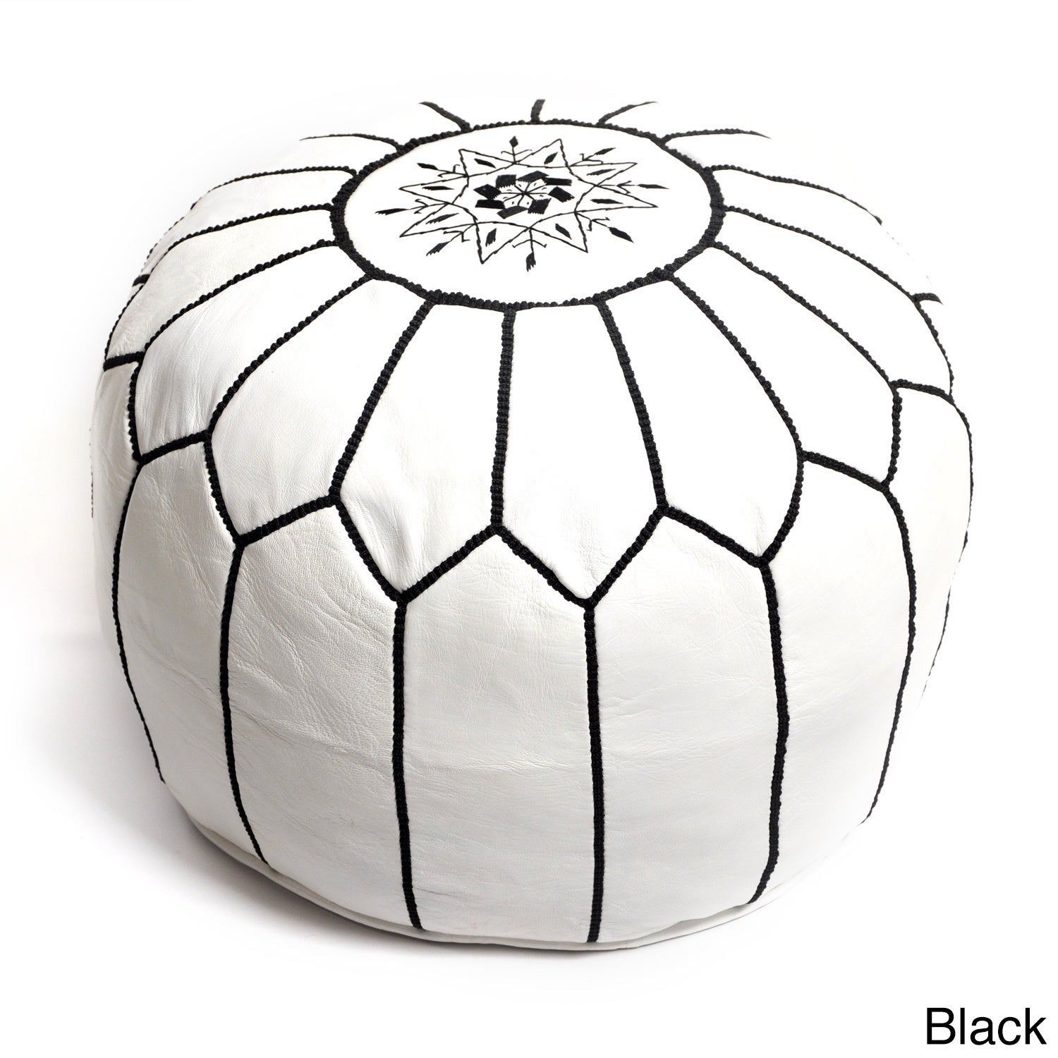 Handmade Moroccan White Leather Pouf Embroidered with Dif...