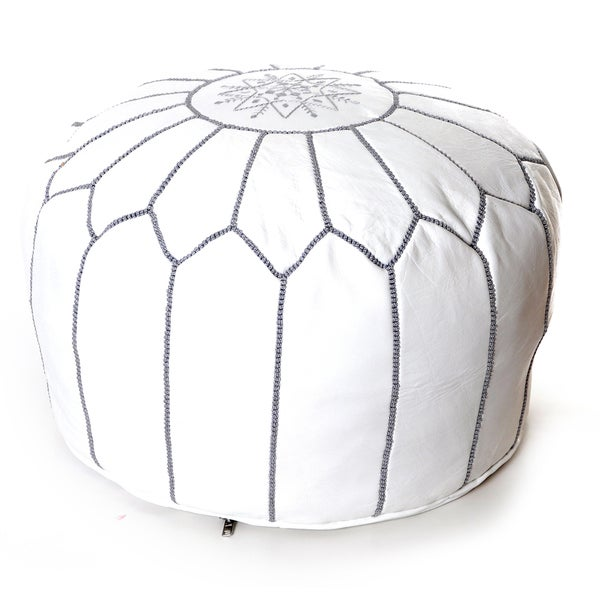 handmade moroccan white leather pouf embroidered with different stitching color authentic ottoman
