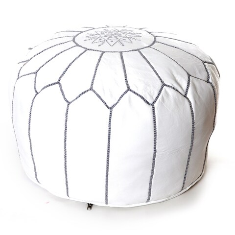 The Curated Nomad Aptos Handmade Moroccan White Leather Pouf Embroidered with Stitching