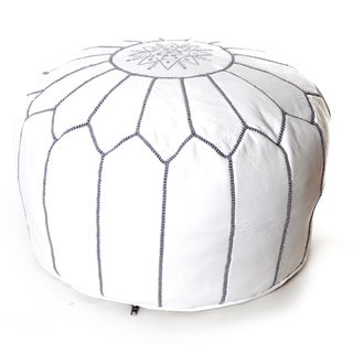 Handcrafted Moroccan White Leather Pouf Embroidered with Different Stitching Color Authentic Ottoman (Morocco)