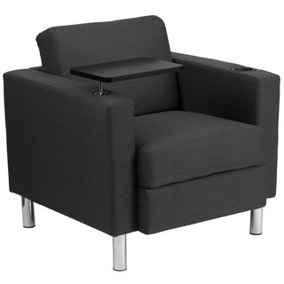 Fabric Guest Chair with Tablet Arm/ Tall Chrome Legs/ Cup Holder