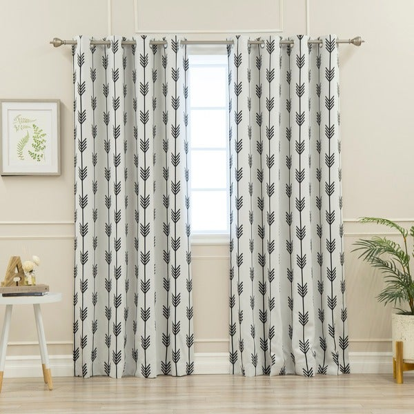 Aurora Home Arrow Room Darkening Grommet Curtain Panel Pair