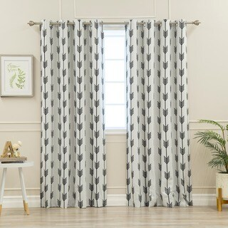 Aurora Home Arrow Room-darkening Grommet Curtain Panel (Set of 2)