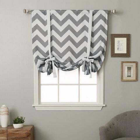 Aurora Home 63-inch Chevron Print Room Darkening Tie-up Window Shade - 42 x 63