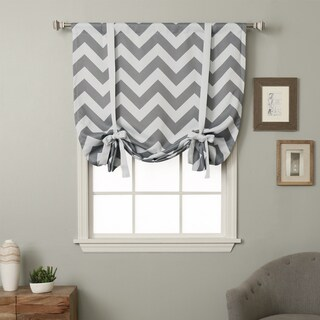 Aurora Home 63-inch Chevron Print Room Darkening Tie-up Window Shade - 42 x 63