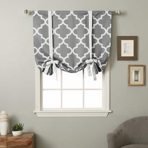 Aurora Home 63-inch Moroccan Print Room Darkening Tie-Up Window Shade
