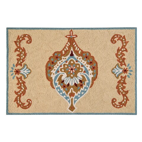 Mandalay Tan Wool Hooked Rug