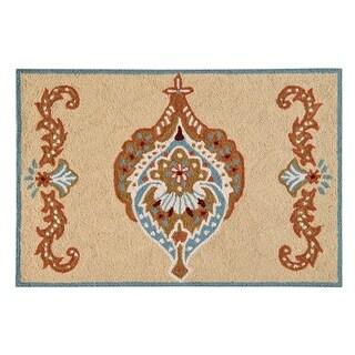 Mandalay Tan Wool Hooked Rug