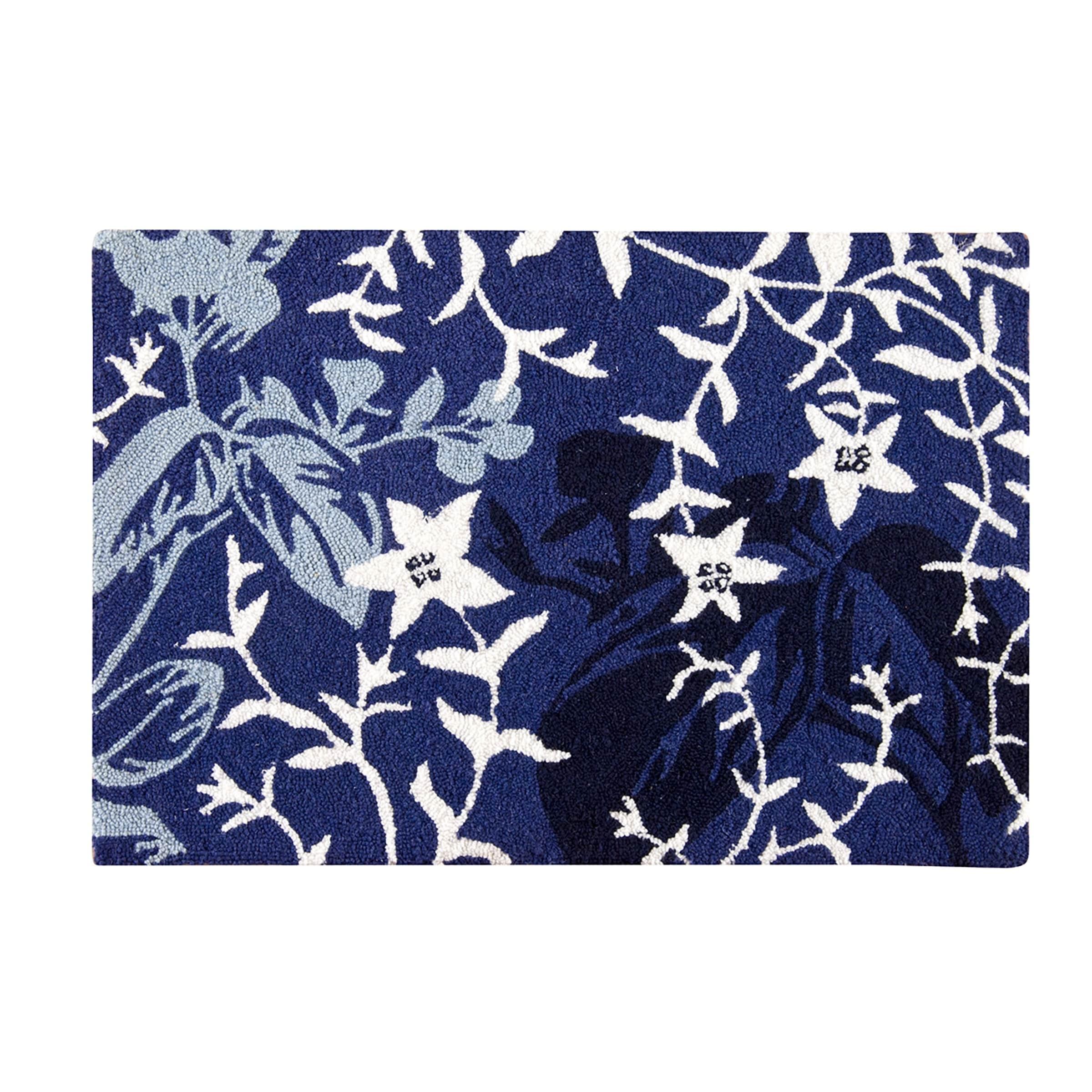 Mazarine Blue Wool Hooked Rug (2x3)