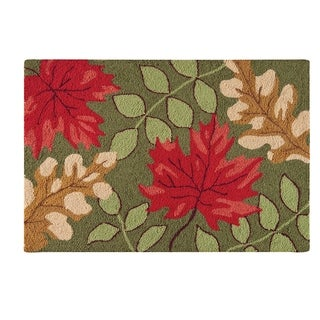 Hamden Green Yellow and Red Leaves Wool Hooked Rug