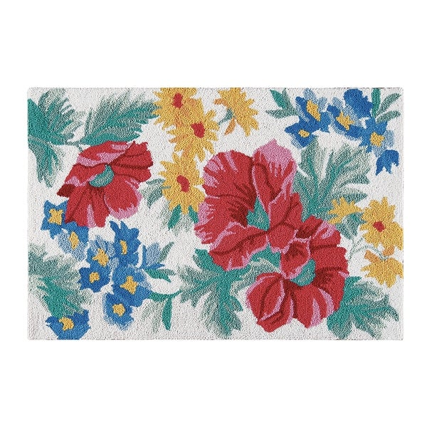 Shop Madeline Blue And Red Floral Wool Hooked Rug On Sale Free