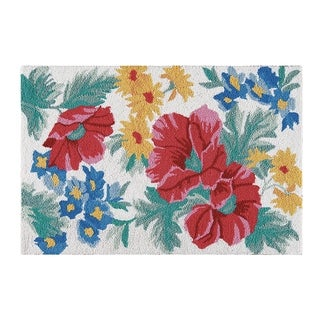Madeline Blue and Red Floral Wool Hooked Rug