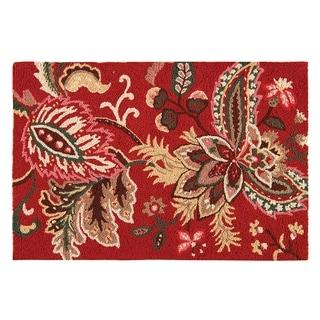 Constantine Red Jacobean Wool Hooked Rug