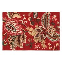 Constantine Red Jacobean Wool Hooked Rug