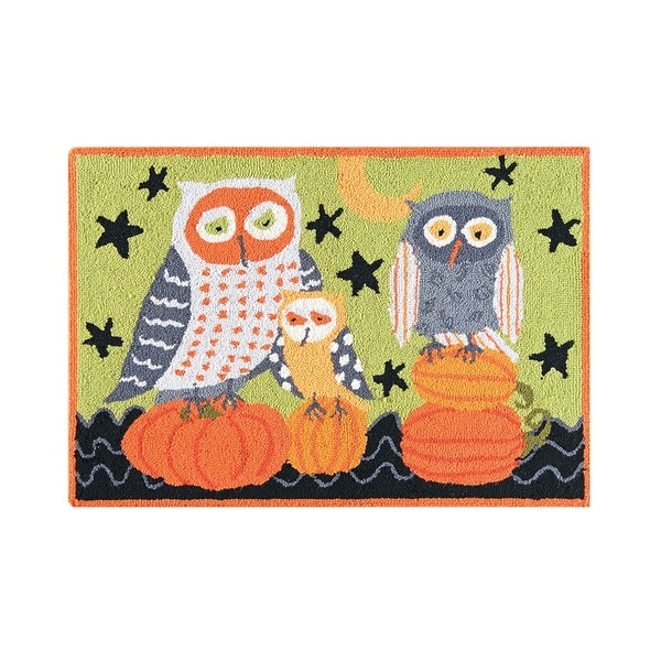 Hootenanny Owls Pumpkin Green Orange and Black Wool Halloween Hooked Rug